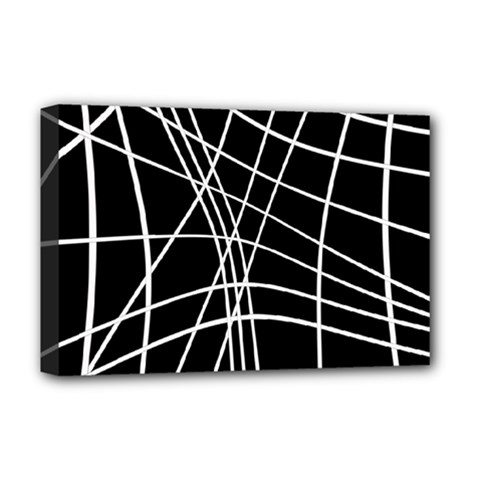 Black and white elegant lines Deluxe Canvas 18  x 12