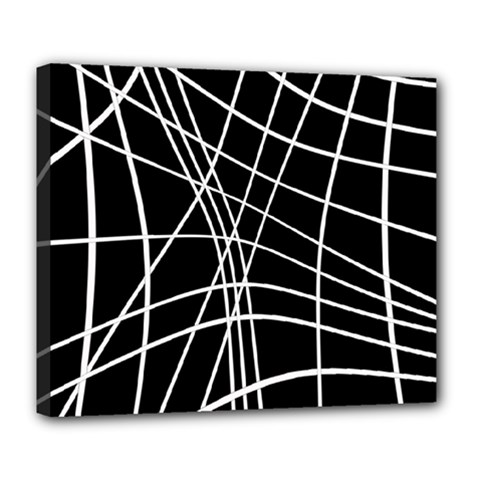 Black and white elegant lines Deluxe Canvas 24  x 20