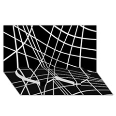 Black and white elegant lines Twin Heart Bottom 3D Greeting Card (8x4)