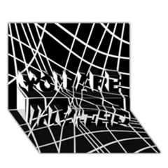 Black and white elegant lines YOU ARE INVITED 3D Greeting Card (7x5)
