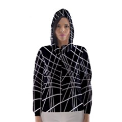 Black and white elegant lines Hooded Wind Breaker (Women)