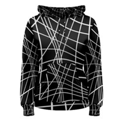 Black and white elegant lines Women s Pullover Hoodie