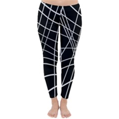 Black and white elegant lines Winter Leggings