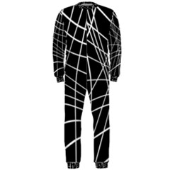 Black and white elegant lines OnePiece Jumpsuit (Men)