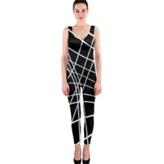 Black and white elegant lines OnePiece Catsuit