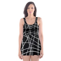 Black and white elegant lines Skater Dress Swimsuit