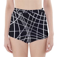 Black And White Elegant Lines High Waisted Bikini Bottoms