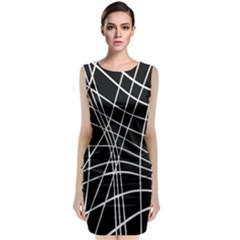 Black And White Elegant Lines Classic Sleeveless Midi Dress