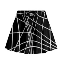 Black and white elegant lines Mini Flare Skirt