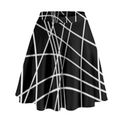 Black And White Elegant Lines High Waist Skirt