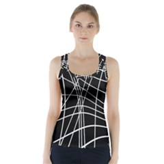 Black And White Elegant Lines Racer Back Sports Top