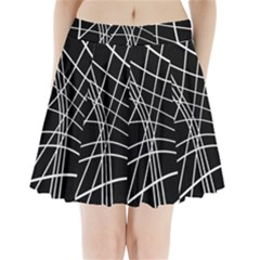 Black And White Elegant Lines Pleated Mini Mesh Skirt