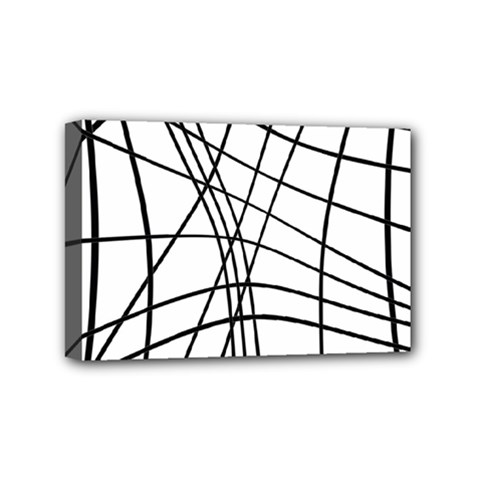 Black and white decorative lines Mini Canvas 6  x 4