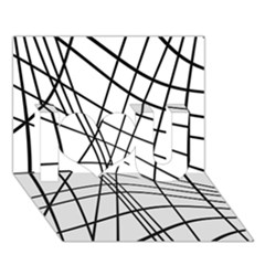 Black and white decorative lines I Love You 3D Greeting Card (7x5)