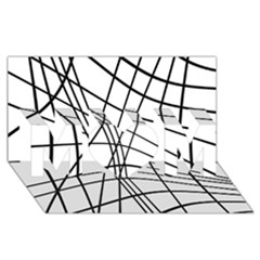 Black and white decorative lines MOM 3D Greeting Card (8x4)