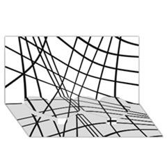 Black and white decorative lines Twin Heart Bottom 3D Greeting Card (8x4)