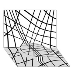 Black And White Decorative Lines Circle Bottom 3d Greeting Card (7x5)