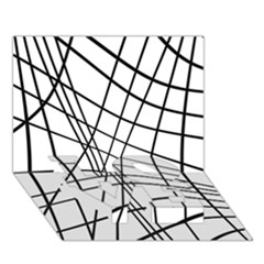 Black and white decorative lines LOVE Bottom 3D Greeting Card (7x5)