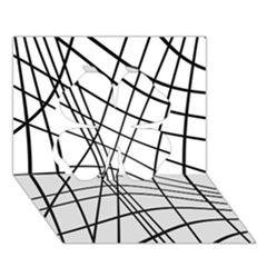 Black and white decorative lines Clover 3D Greeting Card (7x5)