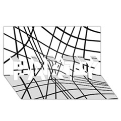 Black and white decorative lines PARTY 3D Greeting Card (8x4)