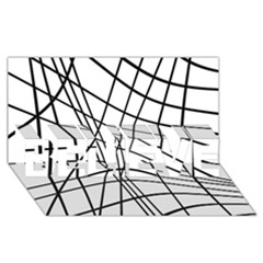 Black and white decorative lines BELIEVE 3D Greeting Card (8x4)