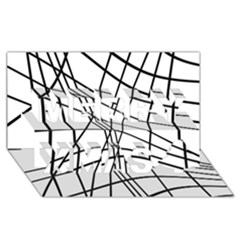 Black and white decorative lines Merry Xmas 3D Greeting Card (8x4)