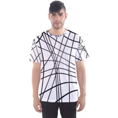 Black and white decorative lines Men s Sport Mesh Tee