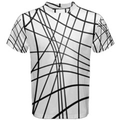 Black and white decorative lines Men s Cotton Tee