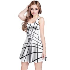 Black and white decorative lines Reversible Sleeveless Dress