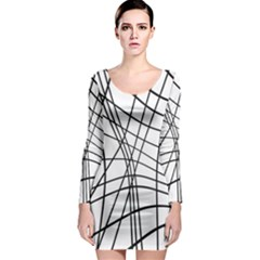 Black and white decorative lines Long Sleeve Bodycon Dress