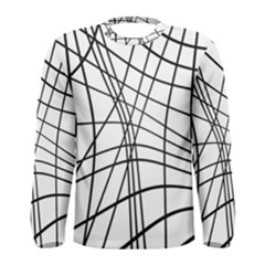 Black and white decorative lines Men s Long Sleeve Tee