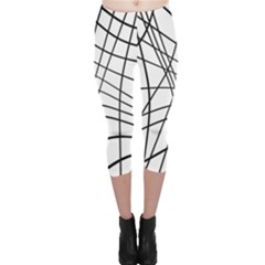Black and white decorative lines Capri Leggings