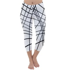 Black and white decorative lines Capri Winter Leggings