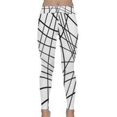 Black and white decorative lines Yoga Leggings