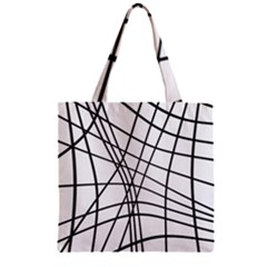 Black and white decorative lines Zipper Grocery Tote Bag