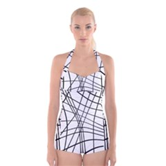 Black and white decorative lines Boyleg Halter Swimsuit