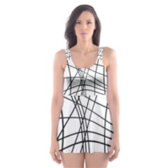 Black And White Decorative Lines Skater Dress Swimsuit