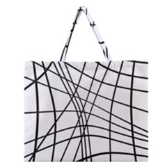 Black And White Decorative Lines Zipper Large Tote Bag