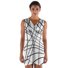 Black And White Decorative Lines Wrap Front Bodycon Dress
