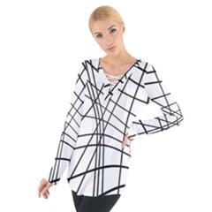 Black and white decorative lines Women s Tie Up Tee