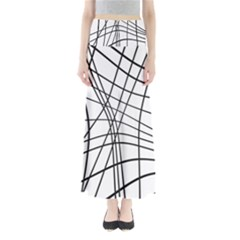 Black And White Decorative Lines Maxi Skirts