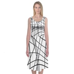 Black And White Decorative Lines Midi Sleeveless Dress