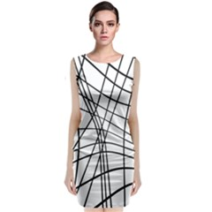 Black and white decorative lines Classic Sleeveless Midi Dress