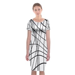 Black And White Decorative Lines Classic Short Sleeve Midi Dress