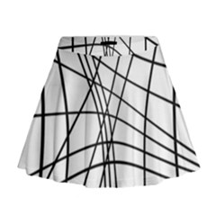 Black And White Decorative Lines Mini Flare Skirt