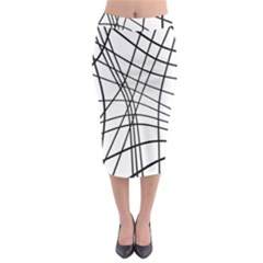 Black And White Decorative Lines Midi Pencil Skirt