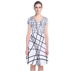 Black And White Decorative Lines Short Sleeve Front Wrap Dress