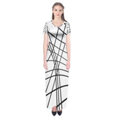 Black And White Decorative Lines Short Sleeve Maxi Dress