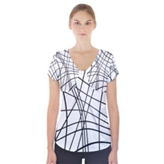 Black And White Decorative Lines Short Sleeve Front Detail Top