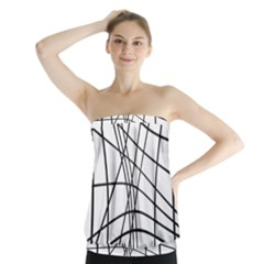 Black and white decorative lines Strapless Top